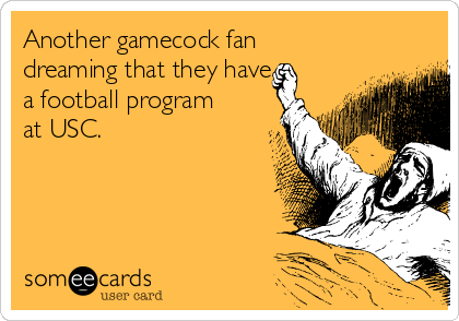 Another gamecock fan dreaming that they have a football program at USC.