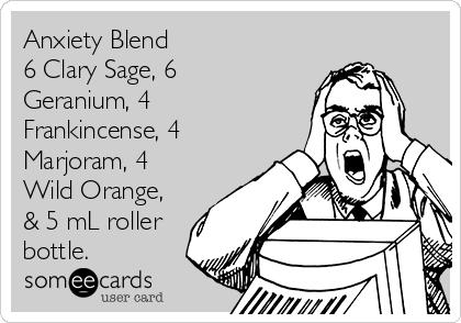 Anxiety Blend 6 Clary Sage, 6 Geranium, 4 Frankincense, 4 Marjoram, 4 Wild Orange, & 5 mL roller bottle.