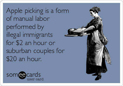 Apple picking is a form of manual labor performed by illegal immigrants  for $2 an hour or suburban couples for $20 an hour.