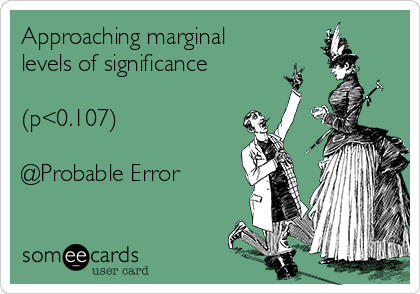 Approaching marginal levels of significance  (p<0.107)  @Probable Error