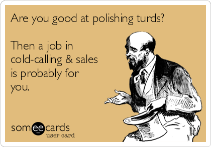 Are you good at polishing turds?  Then a job in cold-calling & sales is probably for you.