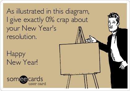 As illustrated in this diagram, I give exactly 0% crap about your New Year's resolution.  Happy New Year!