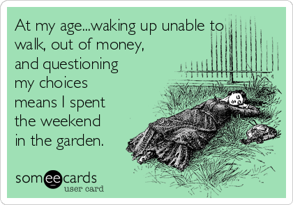 At my age...waking up unable to walk, out of money, and questioning my choices means I spent the weekend in the garden.
