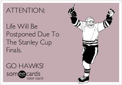 ATTENTION:  Life Will Be Postponed Due To  The Stanley Cup Finals.  GO HAWKS!