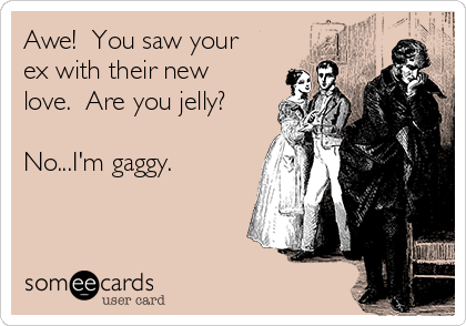 Awe!  You saw your ex with their new love.  Are you jelly?  No...I'm gaggy.