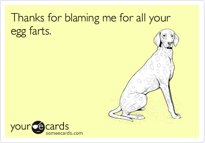 Thanks for blaming me for all your egg farts.