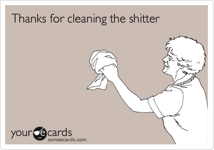 Thanks for cleaning the shitter