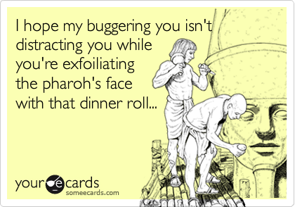 I hope my buggering you isn't distracting you whileyou're exfoiliatingthe pharoh's facewith that dinner roll...
