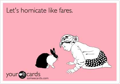 Let's hornicate like fares.