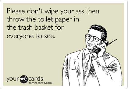 Please don't wipe your ass then throw the toilet paper in the trash basket for everyone to see.