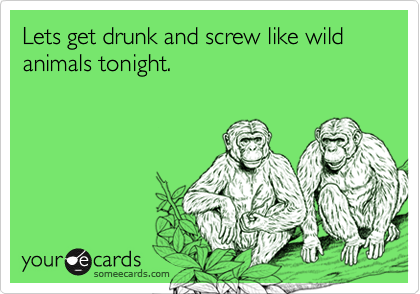Lets get drunk and screw like wild animals tonight.
