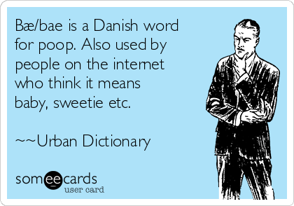 Bæ/bae is a Danish word for poop. Also used by people on the internet who think it means baby, sweetie etc.   ~~Urban Dictionary