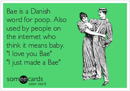 "Bae is a Danish word for poop. Also used by people on the internet who think it means baby. ""I love you Bae"" ""I just made a Bae"""