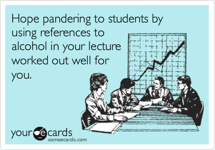 Hope pandering to students by using references to