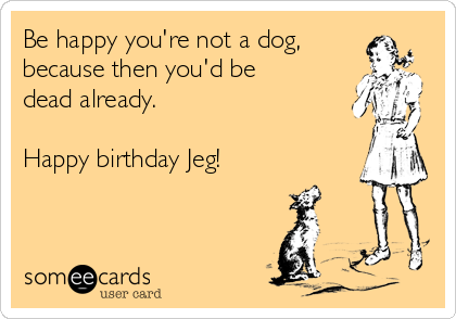 Be happy you're not a dog, because then you'd be dead already.  Happy birthday Jeg!