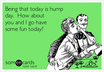 Being that today is hump day.  How about you and I go have some fun today?