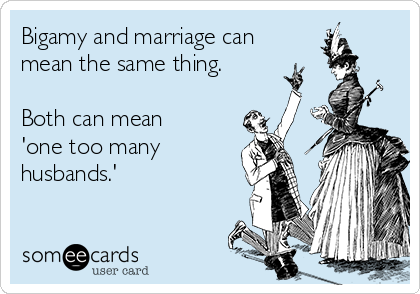 Bigamy and marriage can mean the same thing.  Both can mean 'one too many  husbands.'