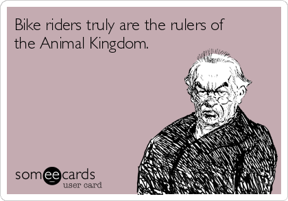 Bike riders truly are the rulers of the Animal Kingdom.
