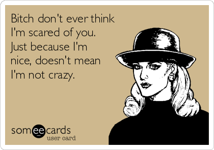 Bitch don't ever think I'm scared of you. Just because I'm nice, doesn't mean I'm not crazy.