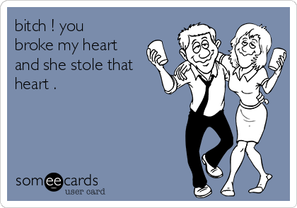 bitch ! you broke my heart  and she stole that heart .
