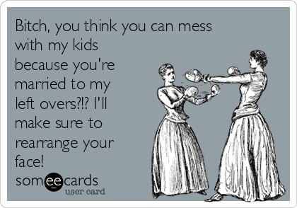 Bitch, you think you can mess with my kids because you're married to my left overs?!? I'll make sure to  rearrange your face!