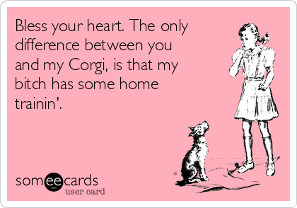 Bless your heart. The only difference between you and my Corgi, is that my bitch has some home trainin'.