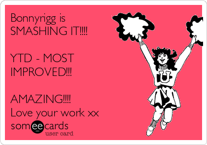 Bonnyrigg is SMASHING IT!!!!   YTD - MOST IMPROVED!!!   AMAZING!!!! Love your work xx