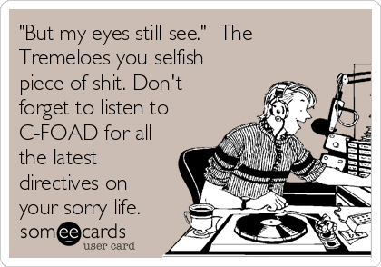 """""""But my eyes still see.""""  The Tremeloes you selfish piece of shit. Don't forget to listen to C-FOAD for all the latest directives on your sorry life."""