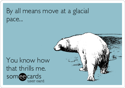 By all means move at a glacial pace...      You know how that thrills me.