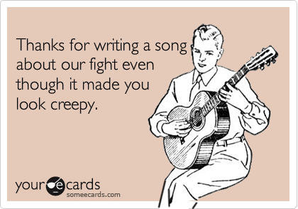 Thanks for writing a song
