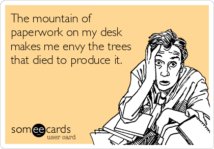 The mountain of paperwork on my desk makes me envy the trees that died to produce it.