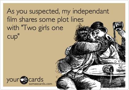 """As you suspected, my independant film shares some plot lineswith """"Two girls onecup"""""""