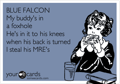 BLUE FALCONMy buddy's ina foxholeHe's in it to his kneeswhen his back is turnedI steal his MRE's