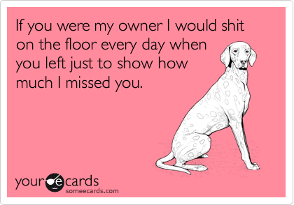 If you were my owner I would shit on the floor every day when you left just to show how much I missed you.