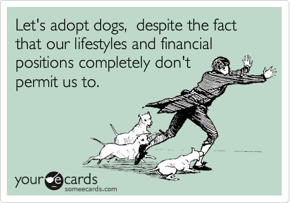 Let's adopt dogs,  despite the fact that our lifestyles and financial positions completely don't