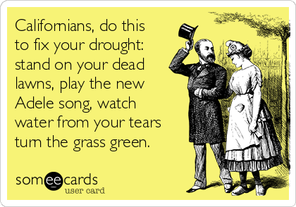 Californians, do this to fix your drought: stand on your dead lawns, play the new Adele song, watch water from your tears turn the grass green.