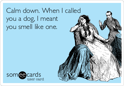 Calm down. When I called you a dog, I meant you smell like one.
