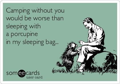 Camping without you would be worse than sleeping with a porcupine in my sleeping bag...