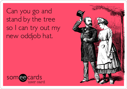 Can you go and stand by the tree so I can try out my new oddjob hat.