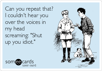 """Can you repeat that? I couldn't hear you over the voices in my head screaming: """"Shut up you idiot."""""""