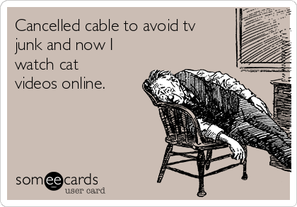 Cancelled cable to avoid tv junk and now I watch cat videos online.