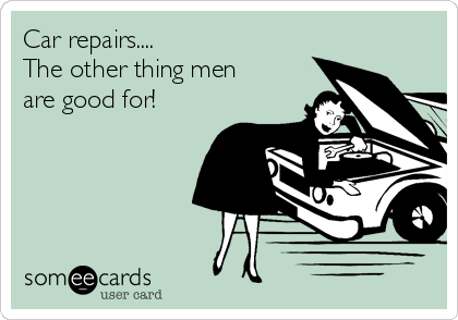 Car repairs....  The other thing men are good for!