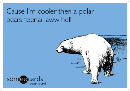 Cause I'm cooler then a polar bears toenail aww hell