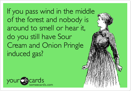 If you pass wind in the middle of the forest and nobody is around to smell or hear it, do you still have Sour Cream and Onion Pringle induced gas?