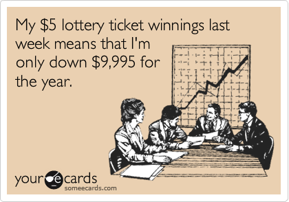 My $5 lottery ticket winnings last week means that I'monly down $9,995 forthe year.