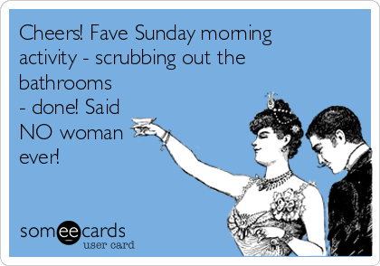 Cheers! Fave Sunday morning activity - scrubbing out the bathrooms - done! Said NO woman ever!