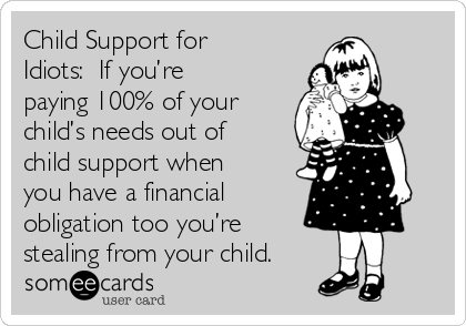 Child Support for Idiots:  If you're paying 100% of your child's needs out of child support when you have a financial obligation too you're stealing from your child.