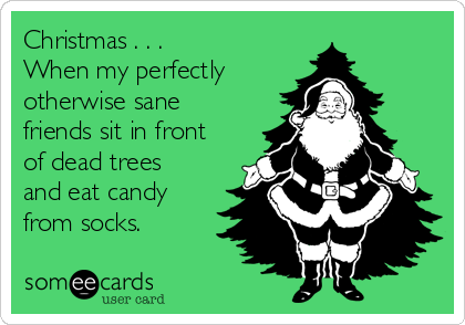Christmas . . .  When my perfectly otherwise sane friends sit in front of dead trees and eat candy from socks.