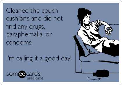 Cleaned the couch cushions and did not find any drugs, paraphernalia, or condoms.  I'm calling it a good day!