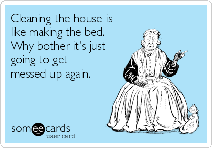 Cleaning the house is like making the bed. Why bother it's just going to get messed up again.